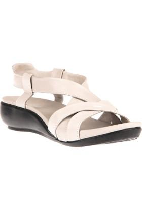 Ziya, Kadın Hakiki Deri Sandalet 8176 9038 Buz Beyazi