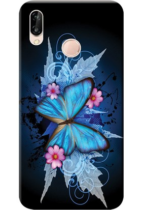 Kılıf Merkezi Huawei P20 Lite Kılıf Silikon Baskılı Kelebek Resim STK:550