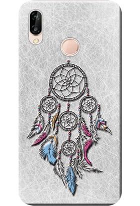 Kılıf Merkezi Huawei P20 Lite Kılıf Silikon Baskılı Renkli Tüyler STK:568