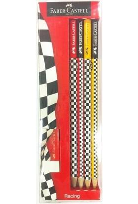 Faber Castell Yarışçı Kurşun Kalem 4 Adet Kurşun Kalem + Silgi