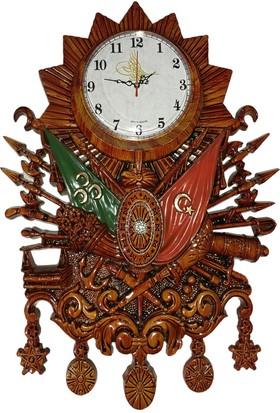 Şenturistik Osmanlı Devlet Arması Duvar Saati Ahşap