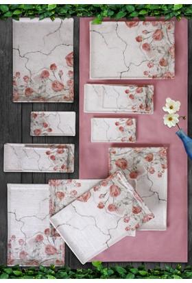 Keramika 12 Parça 6 Kişilik Mat Doğaltaş Pink Rose