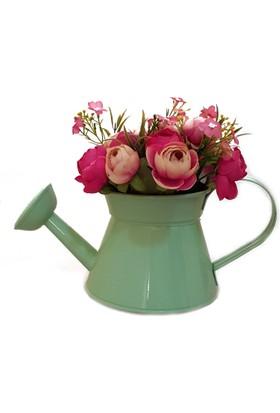 Bhç Dekoratif Retro ,Ferforje , Metal , Renkli Süzgeçli Çiçek Sulama Kabı, Dekoratif Obje , Çiçeklik