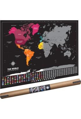 Playaks Scratch Map Kazıma Poster Haritası Bayraklı Nerede Bulundum Harita