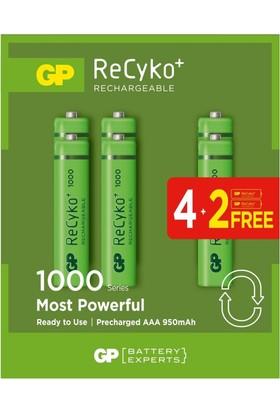 GP 6'lı (4+2) ReCyko 1000 Serisi NiMH AAA İnce Kalem Boy Şarjlı Pil(GP100AAAHCE4/2BB-P6)
