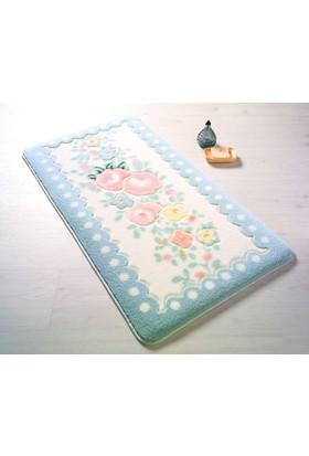 Serenity Pastel Oymalı Banyo Halısı Mavi 80 X 140 Cm