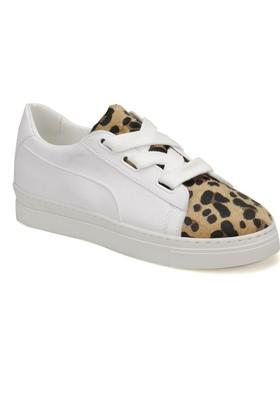 Butigo Leopar 01Z89Z Beyaz Leopar Kadın Sneaker Ayakkabı
