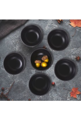 Keramika 6 Adet 8 Cm Mat Siyah Kase Bulut