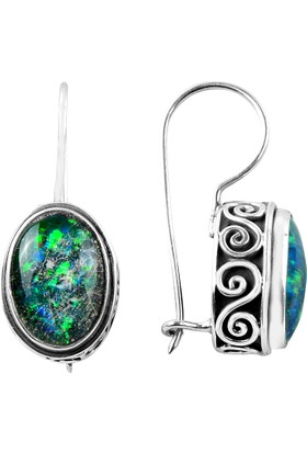 Sanal Kuyumculuk 925 Ayar Gümüş Opal Taş Küpe