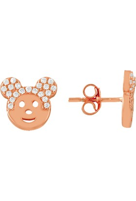 Sanal Kuyumculuk 925 Ayar Gümüş Mickey Mouse Küpe Bz-1026