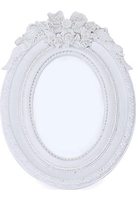Maison White Decor Taçlı gül temalı oval çerçeve 10 cm x 15 cm