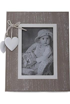 Maison White Decor Çift kalpli dikdörtgen ahşap çerçeve 8 cm x 12 cm
