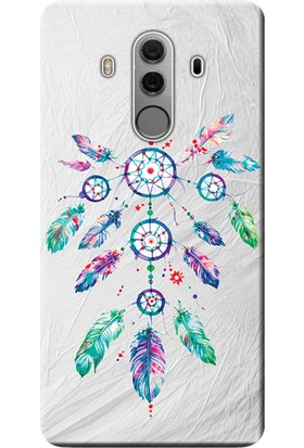 Kılıf Merkezi Huawei Mate 10 Pro Kılıf Silikon Baskılı Renkli Tüyler STK:565