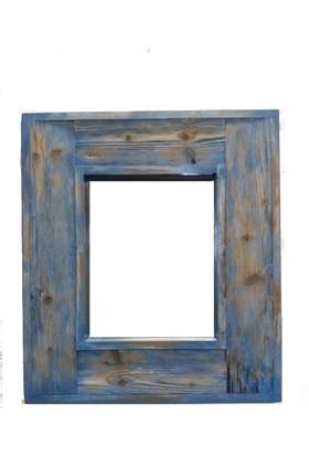 ByBaykuş Mavi Beyaz Eskitme Ayna