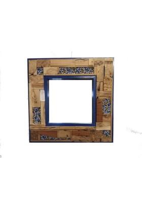 ByBaykuş Kumaş Detaylı Mavi Ayna