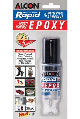 Alcon Rapid Transparent Multi Purpose Epoxy Şırınga İki Komponentli Yapıştırıcı 30 Gr