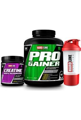 Hardline Nutrition Progainer Çikolata 3000 Gr + Kreatin %100 Mikronize 300 Gr + Shaker