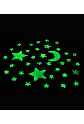 """Zigzag Home Stıcker """"Fosforlu Ay-Yıldız"""" 36'Lı Set"""