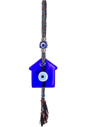 Zigzag Home Dekoratif Askılı Cam Nazar Boncuğu Ev - 10 x 12 Cm Askılı 45 Cm