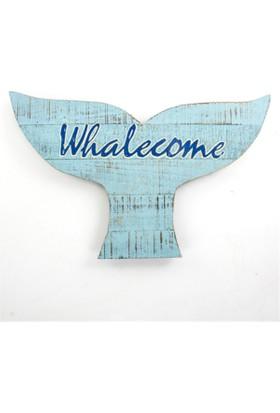 Zigzag Home Ahşap Pano Balina Whalecome 50,5 x 31 Cm