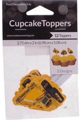 "Zigzag Home Cup Cake Süsü ""İnşaat Partisi"" 5 cm 12'Li Paket"