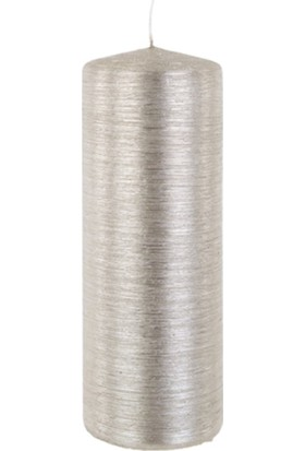 Zigzag Home Gümüş Kütük Mum 7 x 20 Cm Rustıkana Tıtan 102