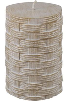 Zigzag Home Sepet Örgüsü Görünümlü Kütük Mum 7 x 10,5 cm