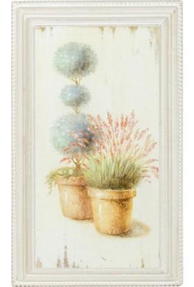 "Zigzag Home Dekoratif Ahşap Tablo ""Saksı Çiçek"" 21 x 36 x 3 cm"