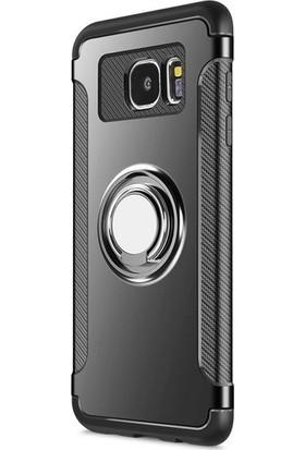 Case 4U Samsung Galaxy S7 Edge Kılıf Yüzüklü Darbeye Dayanıklı Siyah (Mıknatıslı Araç Tutucu Uyumlu)