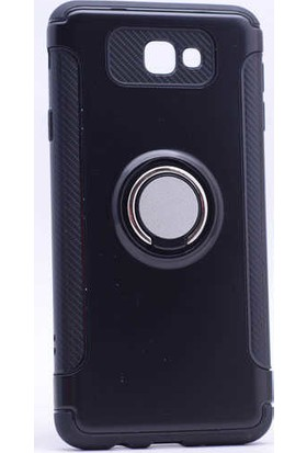Case 4U Samsung Galaxy J7 Prime Kılıf Yüzüklü Darbeye Dayanıklı Siyah (Mıknatıslı Araç Tutucu Uyumlu)