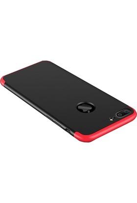 Case 4U Apple iPhone 7 Plus / 8 Plus 360 Derece Korumalı Tam Kapatan Koruyucu Kılıf Kırmızı - Siyah