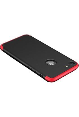 Case 4U Apple iPhone 7 / 8 360 Derece Korumalı Tam Kapatan Koruyucu Kılıf Kırmızı - Siyah