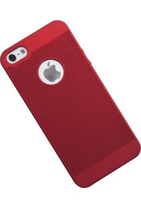 Case 4U Apple iPhone SE / 5 / 5S Kılıf Delikli Sert Arka Kapak Kırmızı
