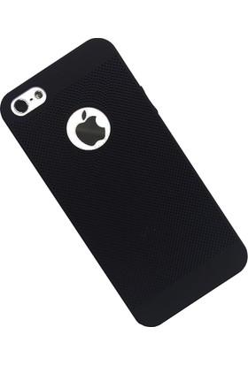 Case 4U Apple iPhone SE / 5 / 5S Kılıf Delikli Sert Arka Kapak Siyah