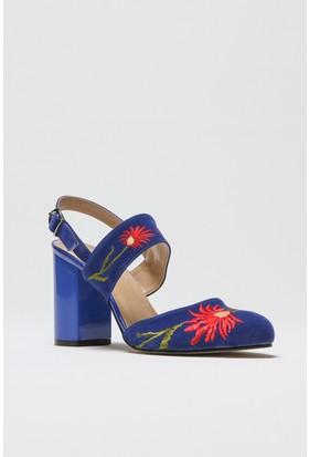 Rovigo Lacivert Süet Kadın Topuklu Sandalet