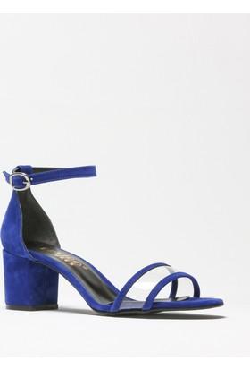Rovigo Mavi Süet Kadın Topuklu Sandalet