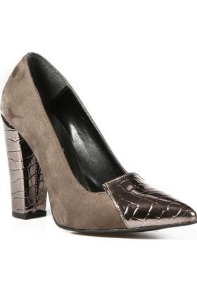 Rovigo Platin Yeşil Kadın Topuklu Ayakkabı