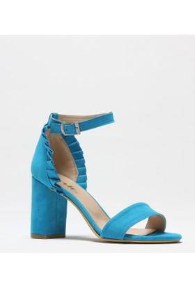 Rovigo Turkuaz Süet Kadın Topuklu Sandalet