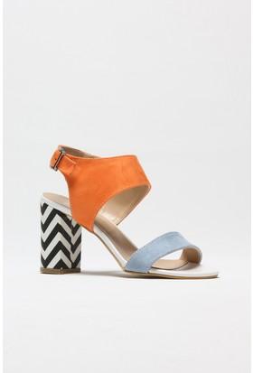 Rovigo Mavi Oranj Süet Kadın Topuklu Sandalet
