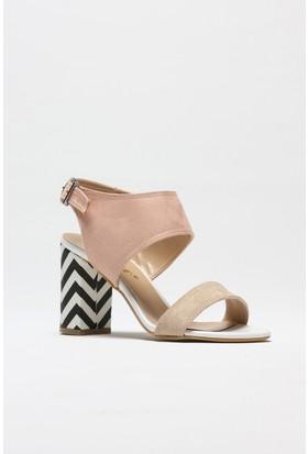 Rovigo Ten Süet Pudra Süet Kadın Topuklu Sandalet