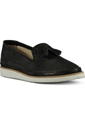 Marjin Kadın Peka Düz Deri Ayakkabı Siyah