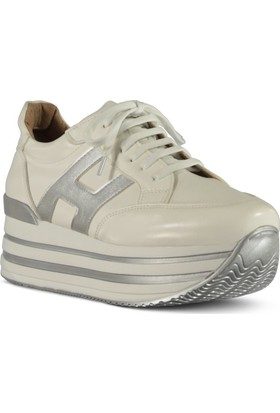 Marjin Kadın Dikez Dolgu Spor Ayakkabı Beyaz