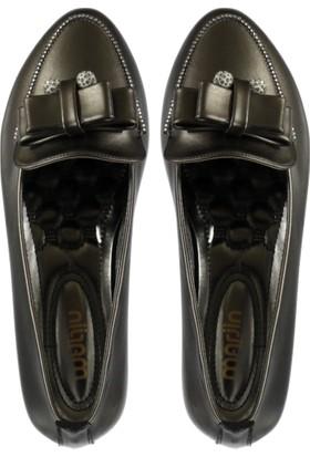 Marjin Kadın Etaz Düz Deri Ayakkabı Platin