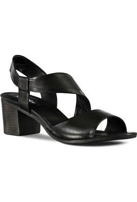Marjin Kadın Pure Topuklu Deri Ayakkabı Siyah