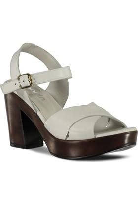 Marjin Kadın Genil Topuklu Deri Ayakkabı Beyaz