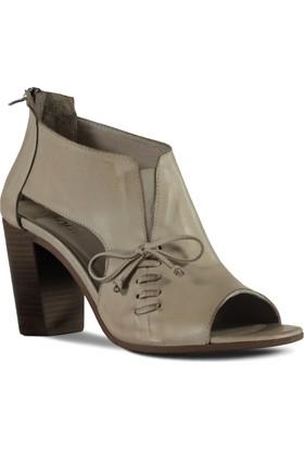 Marjin Kadın Sani Topuklu Deri Ayakkabı Gri
