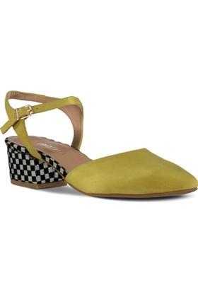Marjin Kadın Mutku Topuklu Ayakkabı Sarı Süet
