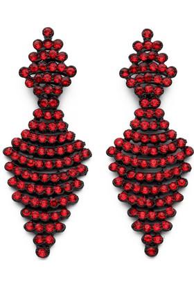 Modex Kırmızı Taşlı Siyah Küpe Ukp9629