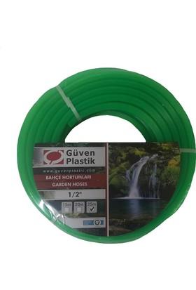 Güven Plastik Silikonlu Şeffaf Bahçe Hortumu 15 Metre Yeşil