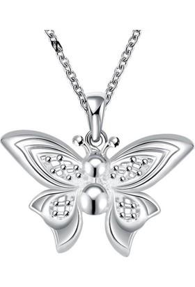 Myfavori Kelebek Gümüş Kaplama Kolye